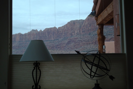 The view of Moab Rim from our condo's living room.