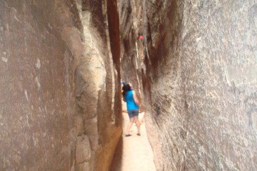 Shroom scaring Mack in a slot canyon.